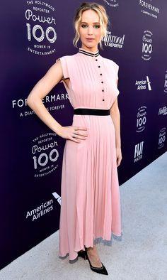 Jennifer Lawrence in a blush pink Philosophy dress