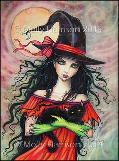 Autumn Mischief Halloween Witch and Black Cat by MollyHarrisonArt