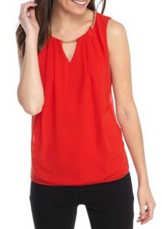 Calvin Klein Women's Sleeveless Pleated Top With Chain - Tango Red - Xs