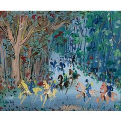 Jean Dufy - Chasse à Course, Oil on canvas