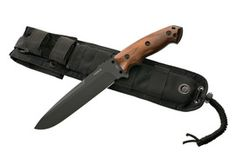 "Hogue EX-F01 7"" Fixed Drop Point Blade A-2 Black Kote Black Sheath Wood Coco Bolo Scales"