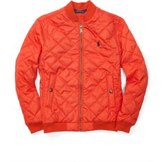 Quilted Baseball Jacket ❤ liked on Polyvore featuring outerwear, jackets, red quilted jacket, red jacket and quilted jackets