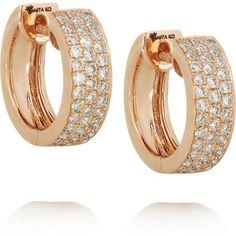 Anita Ko Huggie 18-karat rose gold diamond earrings found on Polyvore