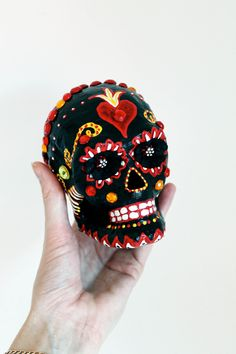 Day of the Dead Black Sugar Skull Hand painted paper mache Skeleton / Dia de los Muertos/ Black red yellow white