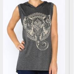 ✨Last Large Left!✨ Elephant Printed Tank (Grey) Printed elephant top with hooded detail, and sleeveless style. Elongated hem line. 94% Rayon, 6% Spandex. Made in USA. Other sizes available. Price is firm. Item #11031416 Tops Tank Tops