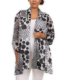 Another great find on #zulily! Black & White Abstract Kimono - Plus #zulilyfinds