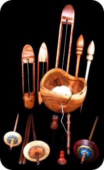 Hand turned drop spindles, shuttles, yarn bowls, and other supplies.  Visit KCL Woods at the free marketplace.