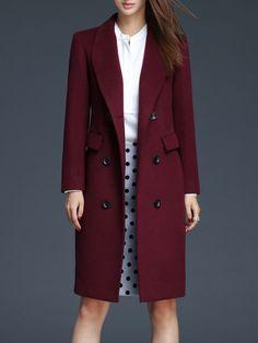 Shop Coats - Crimson Wool Blend Solid Long Sleeve Lapel Coat online. Discover unique designers fashion at StyleWe.com.