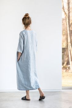 Maxi linen tunic/dress. Washed linen kimono tunic. Oversize linen dress. V neckline linen dress