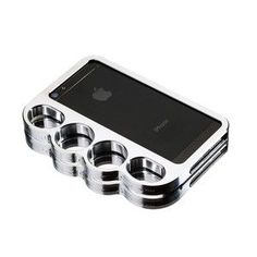 Brass knuckles phone holder. Of course I need this.