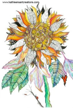 Zentangle-inspired watercolor Sunflower. Completed March 26, 2014. A 12-pack of note cards are available for $21.60 plus shipping and handling. Prints also available.