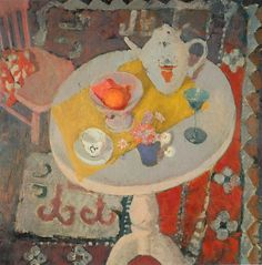 hijaktaffairs:  anne redpath still life with teapot on round table, 1945