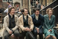 Matthew Goode, Matthew Rhys, Anna Maxwell Martin, and James Norton in Death Comes to Pemberley (2013)