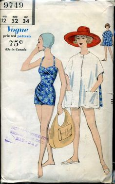 Vintage Vogue #9749 Swimsuit pattern. Lots of support structure in that bodice...<3