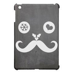 Funny Mustache Holiday Chalkboard iPad Mini Case