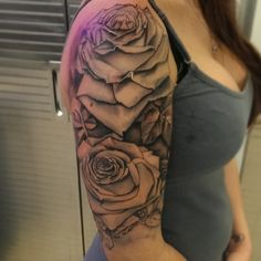 Black and gray; rose; roses; shoulder; half-sleeve; tattoo by Johnny Jinx at Broken Clover in Tucson, AZ