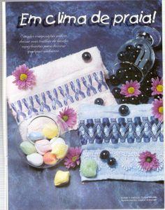 Lili Fazendo Arte: Passo a Passo Bordado de Fitas: Toalhas Tons de Azul