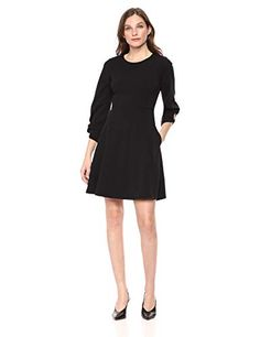 Lark & Ro Womens Gathered Sleeve Crew Neck Fit and Flare Dress with Pockets Black 12 - Petite Dresses - Ideas of Petite Dresses Blue Dress With Sleeves, Navy Dress, Work Dresses For Women, Boat Neck Dress, Tight Dresses, Women's Dresses, Blue Dresses, Winter Fashion Outfits, Dress Fashion