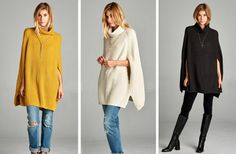 GroopDealz   Cable Knit Cowl Neck Cape Sweater - 4 Colors!