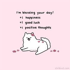 """chibird: """"A cherry blossom samoyed to bless your day and hopefully bring about a lovely spring soon~ 🌸 Loading Penguin Hugs Happy Thoughts, Positive Thoughts, Positive Vibes, Positive Quotes, Cute Inspirational Quotes, Cute Quotes, Motivational Quotes, Kawaii Quotes, Cheer Up Quotes"""