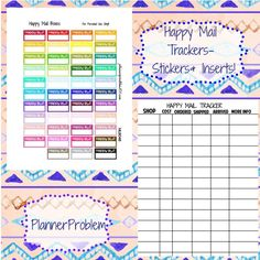 Multicolor Happy Mail Trackers + Inserts!   Free Printable Planner Stickers