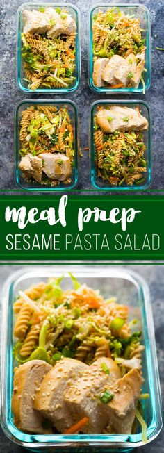 Spend 30 minutes doing some meal prep and you'll have FOUR Sesame Chicken Pasta Salads ready to go for your work lunch this week!