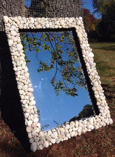 White pebble mirror beach stone mirror smooth beach by betsyreis
