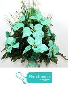 Beautiful XL Aqua Poinsettia's Deco Mesh 3 Inch Cemetery Vase from Crazyboutdeco Deco Mesh Wreaths and Cemetery Arrangements https://www.amazon.com/dp/B01MRMK1ZO/ref=hnd_sw_r_pi_dp_9pYvybB0R7YN3 #handmadeatamazon