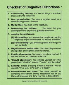 Are you thinking rationally?Checklist of Cognitive Distortions. (CBT & understanding your thought processes - anxiety, stress, panic & depression)