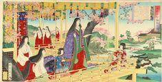 Women and children dressed in junihitoe.