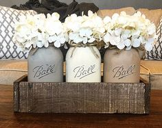 Painted Mason Jar Decor Mason Jar Centerpiece by AllThatsRustic