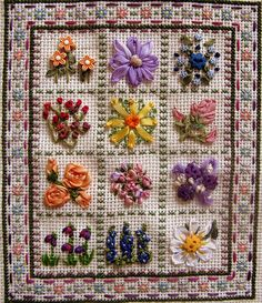 I ❤ ribbon embroidery . . . TAST 07- 3 Detached Chain, Cross Stitch Grid with Flowers