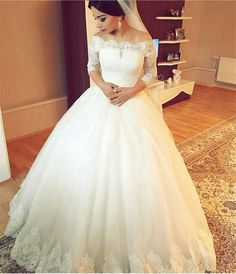 http://www.aliexpress.com/store/product/Robe-De-Mariee-Princesse-3-4-sleeve-Scoop-Neckline-Applique-Lace-White-Wedding-Dress-2016-Floor/925737_32713041218.html Appliques Wedding Dress,Ball Gown Wedding Dresses,beach wedding dress,vintage wedding dress,plus size wedding dress,long sleeve wedding dress,muslim wedding dress