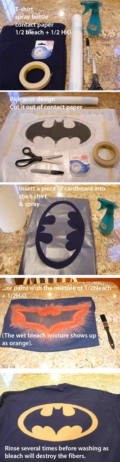 DIY bleach shirts featuring the Batman logo
