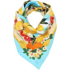 Dolce & Gabbana Women Lemons Printed Silk Twill Scarf (€500) ❤ liked on Polyvore featuring accessories, scarves, multi and silk twill scarves