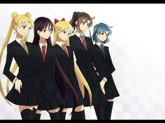 Sailor Moon - blonde hair, girls, white bakcground, tie, pruple hair, blue hair, unifroms, work, sailor moon, short hair, long hair