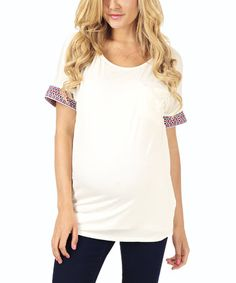 b343582c85 Look what I found on  zulily! PinkBlush Ivory Geo-Accent Maternity Scoop  Neck