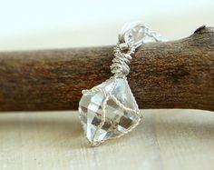 Herkimer Diamond Necklace Rough Quartz Wire Wrapped