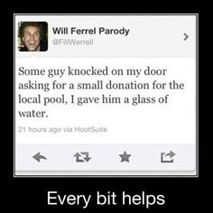 Funny tweet - Every bit helps - http://jokideo.com/funny-tweet-every-bit-helps/