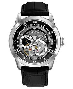 Bulova Watch, Men's Automatic Mechanical Black Leather Strap 42mm 96A135 - - Macy's