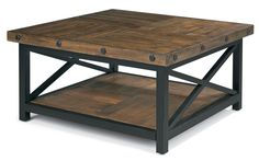 Flexsteel Carpenter Square Cocktail Table with Metal Base and Wood Plank Top - AHFA - Cocktail or Coffee Table Dealer Locator