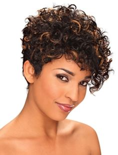 Color Shown: FS1B/30 STYLE: Curly DESCRIPTION: Asymmetrical Short Cut, Soft Swirl Curl Side Swept and Tapered Nape, Soft Wet Look LENGTH: Short