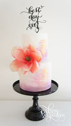Love this gorgeous pastel watercolour cake with stunning wafer paper flower.