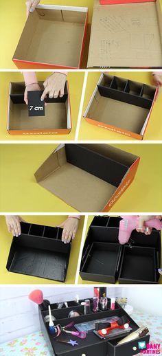 Diy Crafts For Gifts, Diy Home Crafts, Diy Arts And Crafts, Desk Organization Diy, Diy Storage, Carton Diy, Deco Cool, Cardboard Box Crafts, Diy Rangement