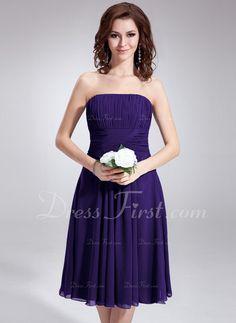 A-Line/Princess Strapless Knee-Length Ruffle Zipper Up Strapless Sleeveless Royal Blue Spring Summer General Plus Chiffon Bridesmaid Dress
