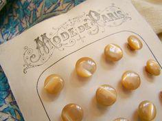 Très rare série de 24 boutons de poupée nacre & sur pied, caramel blond 1900