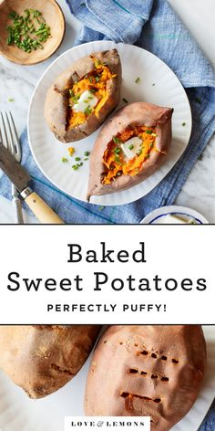 Learn how to bake sweet potatoes with these tips & tricks! Enjoy them with butter, salt & pepper, or use them in your favorite baked sweet potato recipes. Sweet Potato Toppings, Sweet Potato Tacos, Sweet Potato Recipes, Vegetable Recipes, Vegetarian Recipes, Cooking Recipes, Healthy Recipes, Crockpot Recipes, Perfect Baked Sweet Potato