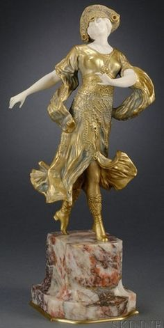 Gilt bronze and ivory sculpture. Dimitri Chiparus, figure of an Art Deco Dancer, 20th c.