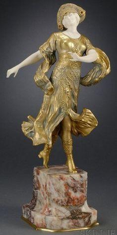 Gilt bronze and ivory sculpture. Dimitri Chiparus, figure of an Art Deco Dancer, 20th c.