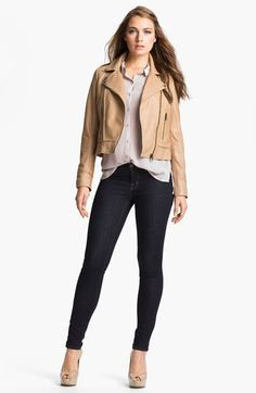 Kenna-T Asymmetrical Leather Jacket available at #Nordstrom  Fell in LOVE w/ this cropped leather jacket in this gr8 color. Wear w/ darker knits, denim, cute maxi dresses, to-the-knee skirts & everything in between. Be your your own designer & see what you come up with & how many compliments you get!